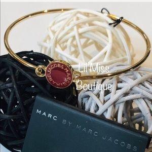 MARC JACOBS Wine & Gold Enamel Logo Disc Bracelet